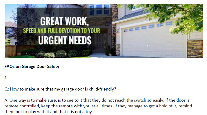 FAQs on Garage Door Safety - Garage Door Repair Scituate